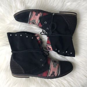 The sak suede Aztec embroidered ankle tie booties